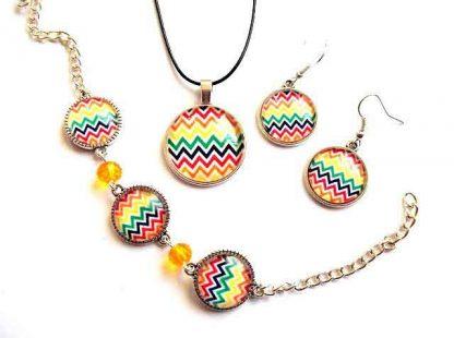 Set in culori multicolore, bijuterii cercei, pandantiv si bratara reglabila 33629