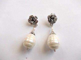 Cercei perle naturale, pereche de cercei 33915.Bijuterie cadou femei. Pereche de cercei cu perle de cultura. Culori: alb si galben.