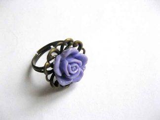 Inel fimo si bronz, inel trandafir mov model 26134