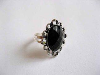 Inel gen floare, inel reglabil din metal si cristal negru 24048