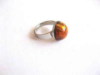 Inel portocaliu, inel reglabil cu sticla de murano 23968