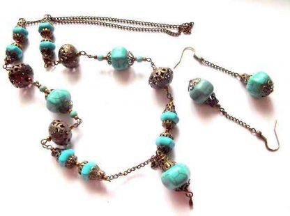 Set turcoaz si accesorii bronz, pietre semipretioase si metal 34316