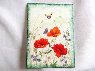 Tablou pe panza cu flori si fluturi, maci si flori campenesti mov 34295