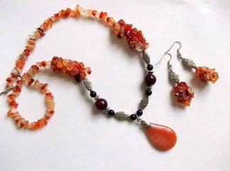 Agate portocaliu cu galben, cercei si colier cu pandantiv, bijuterii agate 34387