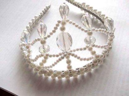 Coronita mireasa, perle artificiale, cristale si sarma placata argint 34367 vedere fata