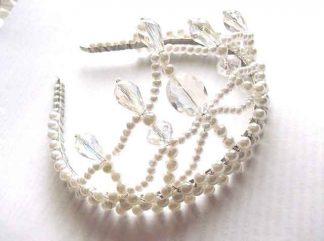 Coronita mireasa, perle artificiale, cristale si sarma placata argint 34367 vedere lateral