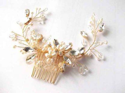 Coronita strasuri, perle artificiale si cristale, coronita mireasa 34529 fundal deschis