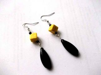Howlit negru si galben, cercei pietre semipretioase howlit 34542