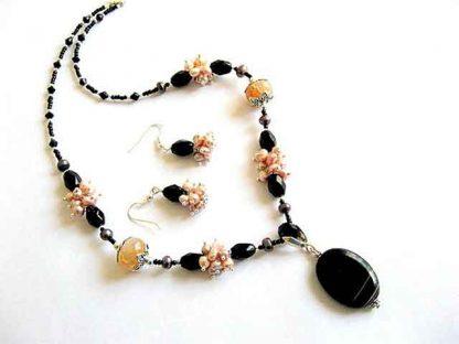 Set agate skin dragon, onix, perle naturale si cristale sticla, set bijuterii 15896