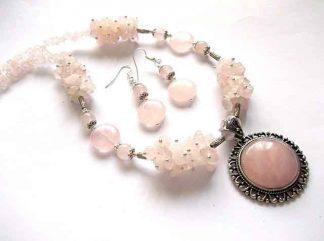 Bijuterii cuart roz, set bijuterii colier cu pandantiv si cercei 34500