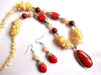 Calcit si coral, set bijuterii femei pietre semipretioase 34439