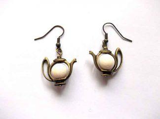 Cercei ceainice bronz si coral, cercei cadou femei 34487