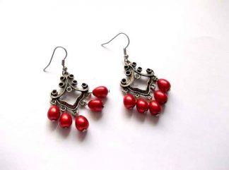 Cercei cu perle rosii de sticla, cadou bijuterie cercei 34497