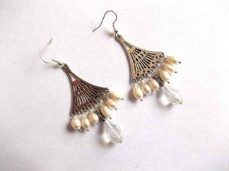 Cercei dama perle naturale si cristale, cercei cadou femei 34601