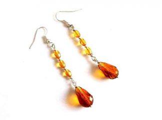Cercei simpli cu cristale, cercei cristale galben portocalii model 34577