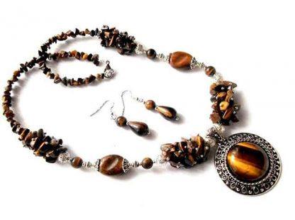 Colier cu pandantiv si cercei ochi de tigru, set bijuterii 34535 poza 1