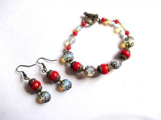 Coral si piatra lunii, set bijuterii cadou femei 34704