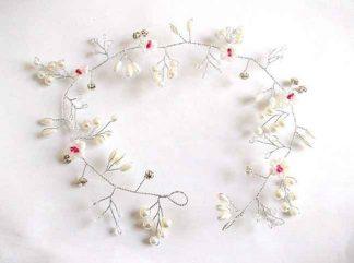 Coronita alb cu rosu, coronita mireasa cu perle artificiale si cristale 34552