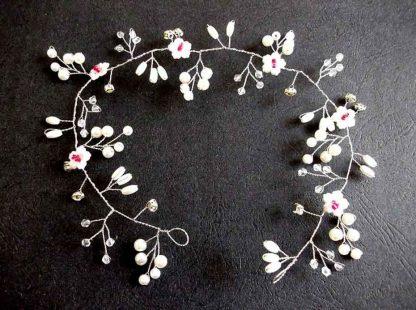 Coronita alb cu rosu, coronita mireasa cu perle artificiale si cristale 34552 poza 2