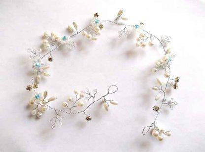 Coronita perle artificiale si cristale alb bleu, coronita mireasa 34556