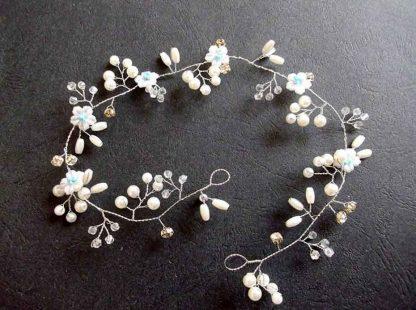 Coronita perle artificiale si cristale alb bleu, coronita mireasa 34556 poza 2