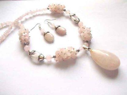 Cuart roz, set bijuterii, colier si cercei, set cadou femei 34502
