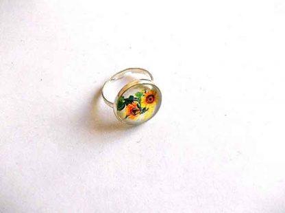 Inel reglabil cu floarea soarelui, inel reglabil femei 34587