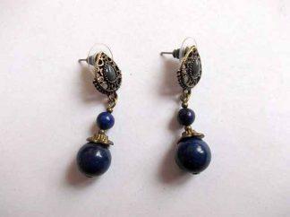 Lapis lazuli pietre semipretioase, cercei bronz si pietre 34602