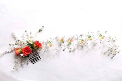 Pieptan cu trandafiri artificiali rosii, pieptan mireasa 34709 pe fundal alb
