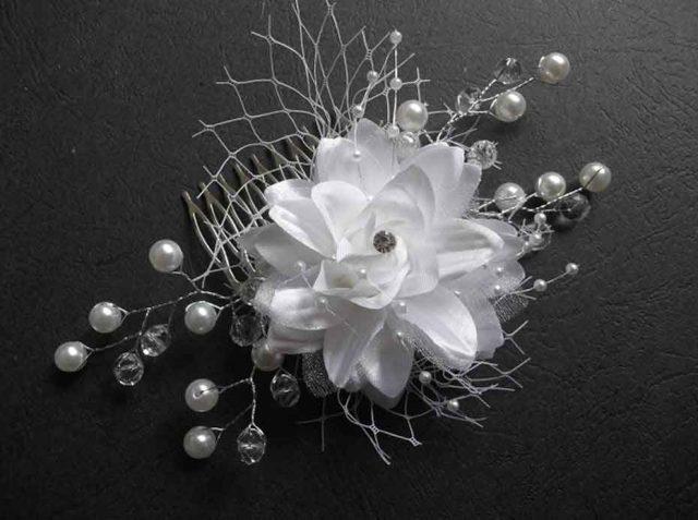 Pieptan floare artificiala, pieptan mireasa lucrat manual 32554 poza 1