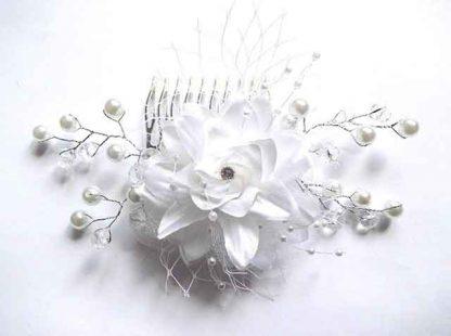 Pieptan floare artificiala, pieptan mireasa lucrat manual 32554 poza 2