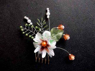 Pieptan flori si frunze artificiale, pieptan mireasa 34668 pe fundal negru