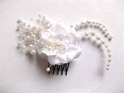 Pieptan material textil organza si perle sticla, pieptan mireasa 34598