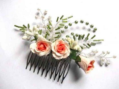 Pieptan mireasa cu flori artificiale roz, pieptan trandafiri roz 34617
