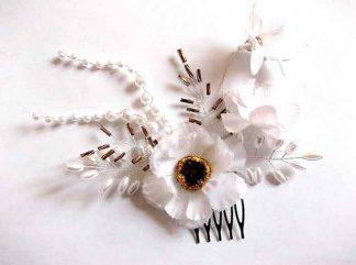 Pieptan nunta cu maci albi, pieptan mireasa model 34714