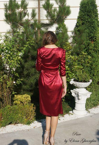 Rochie rosie din satin, rochie lejera de vara poza din spate