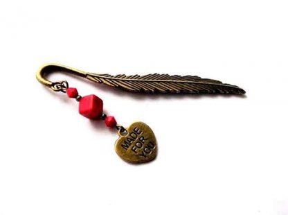Semn de carte cu howlit rosu si inimioara made for you, semn de carte 34543