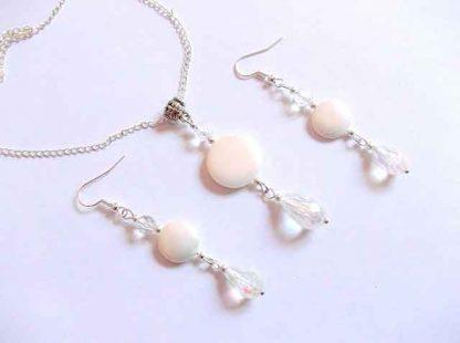 Set bijuterii perle de Mallorca, set pandantiv si cercei 34471