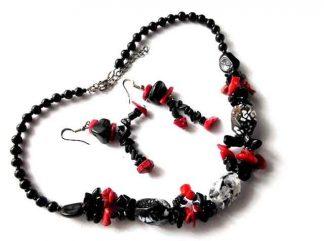 Set colier si cercei cu agate si coral rosu, set cadou femei 34538