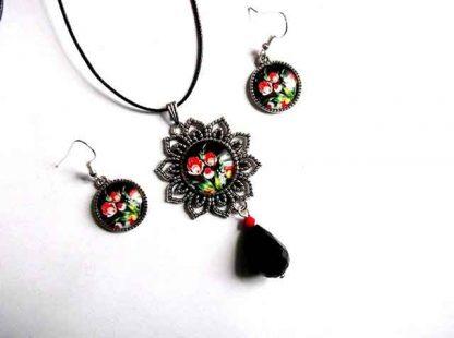 Set pandantiv si cercei cu model floral, set bijuterii 34424