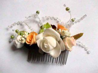 Pieptan flori artificiale, pieptan mireasa culori portocaliu, alb, roz si vernil 34785