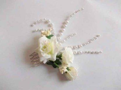 Pieptan mireasa perle si margele sticla, flori artificiale, pieptan nunta 34808 fundal alb