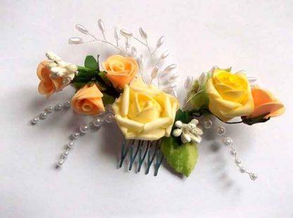 Pieptan mireasa trandafiri galbeni si portocalii, pieptan nunta 34783