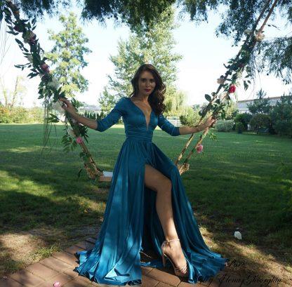 Rochie turcoaz din matase, rochie evenimente speciale - cu rochia in leagan