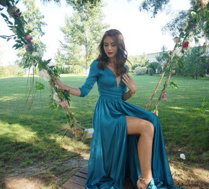 Rochie turcoaz din matase, rochie evenimente speciale - cu rochia in leagan, poza de aproape