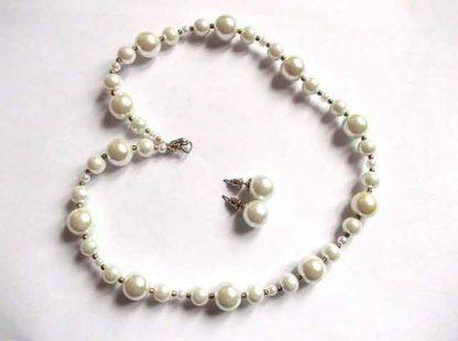 Set bijuterii perle sticla, set colier cu cercei cadou femei 34854