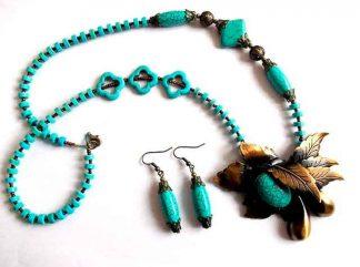 Set turcoaz, colier, cercei si accesorii bronz, set cadou femei 34837