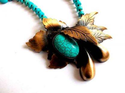 Set turcoaz, colier, cercei si accesorii bronz, set cadou femei 34837 poza marita