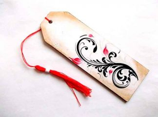 Semn de carte cu model floral stilizat, semn de carte rosu si negru 35049