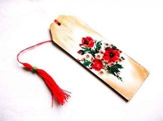 Buchet flori musetel si maci, semn de carte model floral 35062